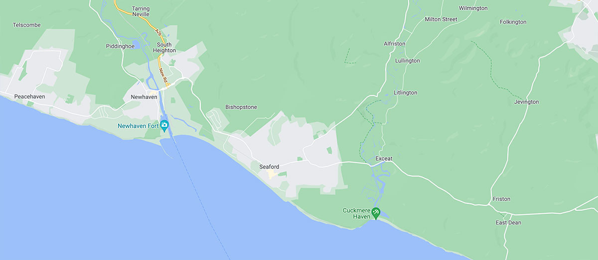Sussex coastline geographic map